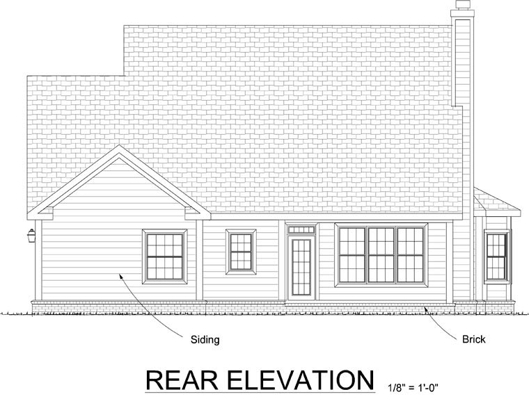 Traditional House Plan 68464 Rear Elevation