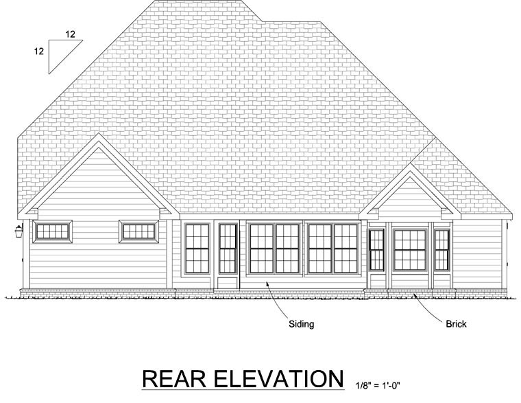 European , Traditional House Plan 68467 with 4 Beds, 5 Baths, 3 Car Garage Rear Elevation