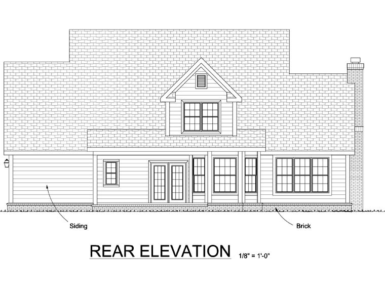 Country Farmhouse Southern House Plan 68468 Rear Elevation