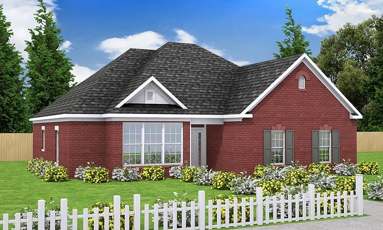 European, Traditional House Plan 68469 with 3 Beds, 2 Baths, 2 Car Garage Elevation