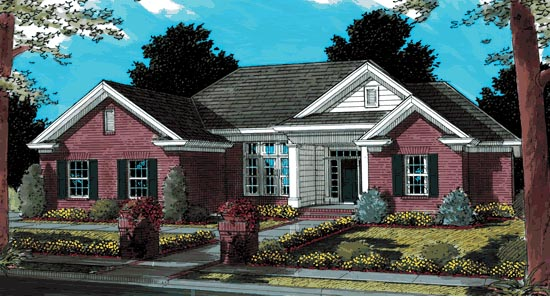 Traditional House Plan 68473 with 3 Beds, 2 Baths, 2 Car Garage Elevation