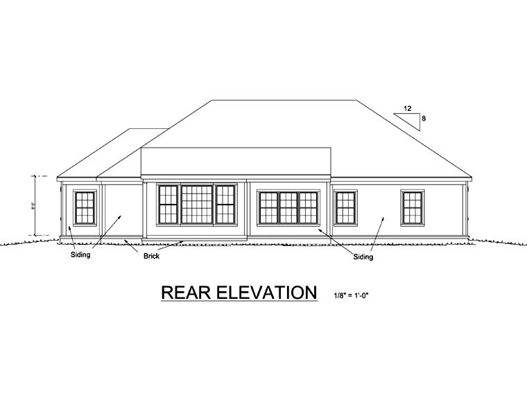 Traditional House Plan 68473 with 3 Beds, 2 Baths, 2 Car Garage Rear Elevation
