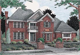 House Plan 68474 | Colonial Style Plan with 2342 Sq Ft, 3 Bed, 4 Bath, 3 Car Garage Elevation