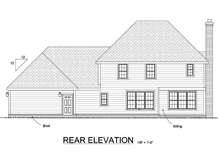 House Plan 68474 | Colonial Style Plan with 2342 Sq Ft, 3 Bed, 4 Bath, 3 Car Garage Rear Elevation