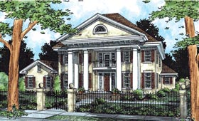 Southern , Colonial House Plan 68477 with 4 Beds, 4 Baths, 3 Car Garage Elevation