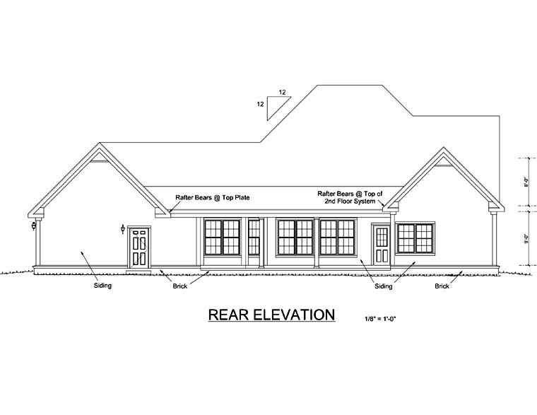 House Plan 68478 | Country Style Plan with 2546 Sq Ft, 4 Bedrooms, 4 Bathrooms, 3 Car Garage Rear Elevation