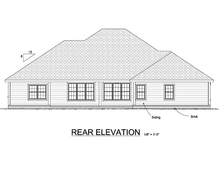 House Plan 68481 | European Style Plan with 2544 Sq Ft, 4 Bedrooms, 3 Bathrooms, 2 Car Garage Rear Elevation