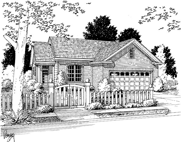Traditional House Plan 68482 with 3 Beds, 2 Baths, 2 Car Garage Elevation