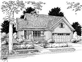 House Plan 68484 | Traditional Style Plan with 1484 Sq Ft, 3 Bedrooms, 2 Bathrooms, 2 Car Garage Elevation