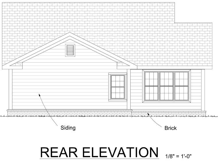 Traditional House Plan 68484 Rear Elevation