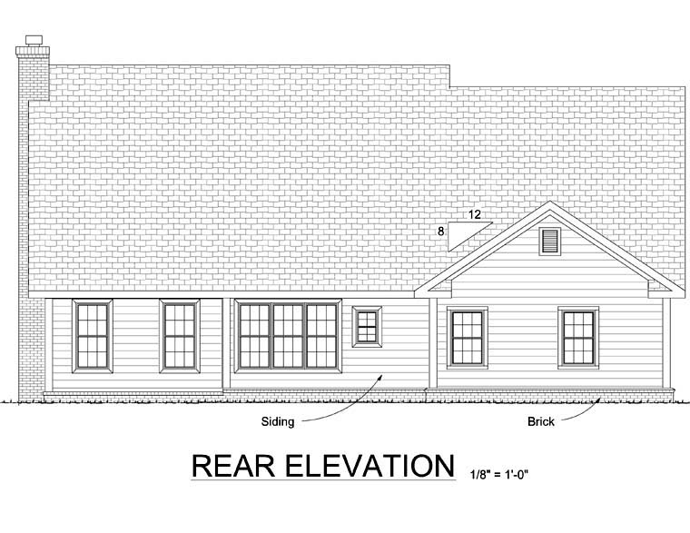 Country, Farmhouse House Plan 68486 with 4 Beds, 3 Baths, 2 Car Garage Rear Elevation