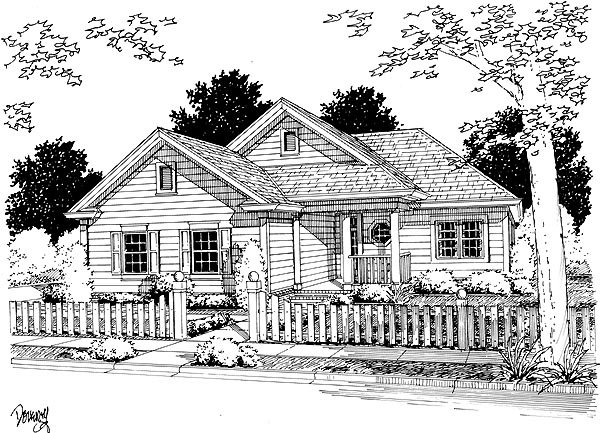 Cottage , Traditional House Plan 68487 with 2 Beds, 2 Baths, 2 Car Garage Elevation