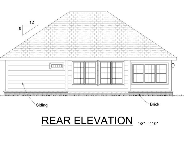 Cottage , Traditional House Plan 68487 with 2 Beds, 2 Baths, 2 Car Garage Rear Elevation