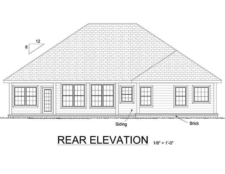 European House Plan 68488 Rear Elevation