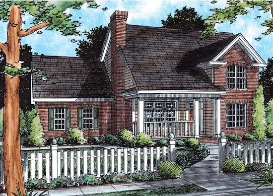 Traditional House Plan 68489 with 4 Beds, 3 Baths, 2 Car Garage Elevation