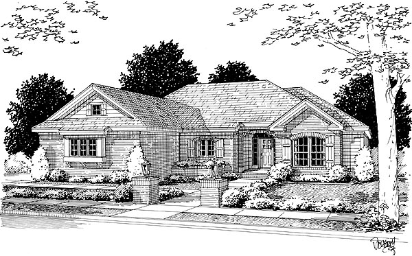 European House Plan 68494 with 4 Beds, 2 Baths, 2 Car Garage Elevation