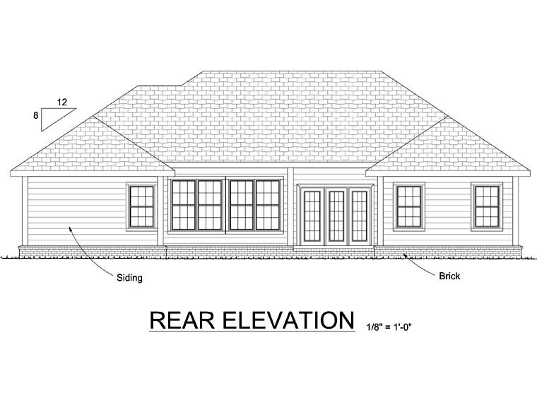 European House Plan 68494 Rear Elevation