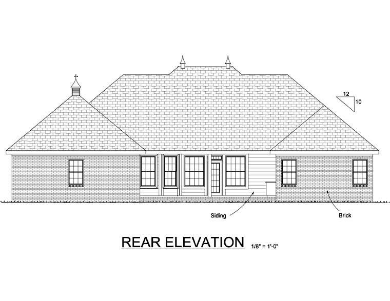 European House Plan 68502 Rear Elevation