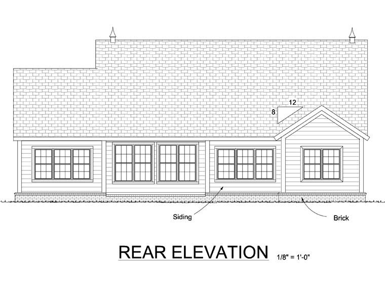 European House Plan 68503 Rear Elevation