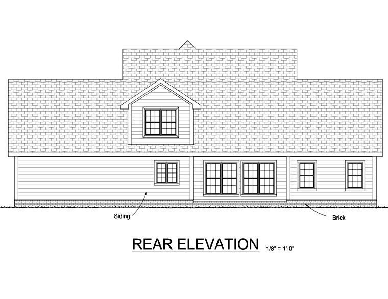 Craftsman Farmhouse House Plan 68505 Rear Elevation