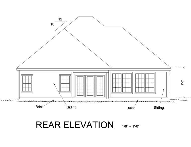 Traditional Rear Elevation of Plan 68508