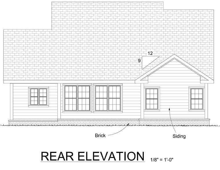 Traditional House Plan 68509 with 3 Beds , 3 Baths , 2 Car Garage Rear Elevation