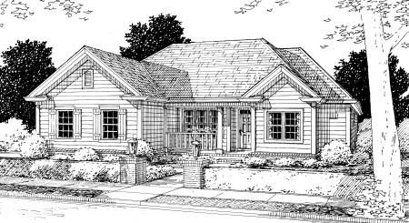 Traditional House Plan 68510 with 3 Beds, 2 Baths, 2 Car Garage Elevation