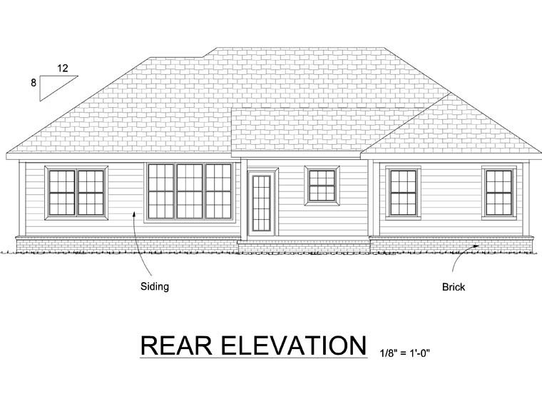 Traditional House Plan 68510 with 3 Beds, 2 Baths, 2 Car Garage Rear Elevation
