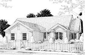 Traditional House Plan 68511 with 4 Beds, 2 Baths, 2 Car Garage Elevation