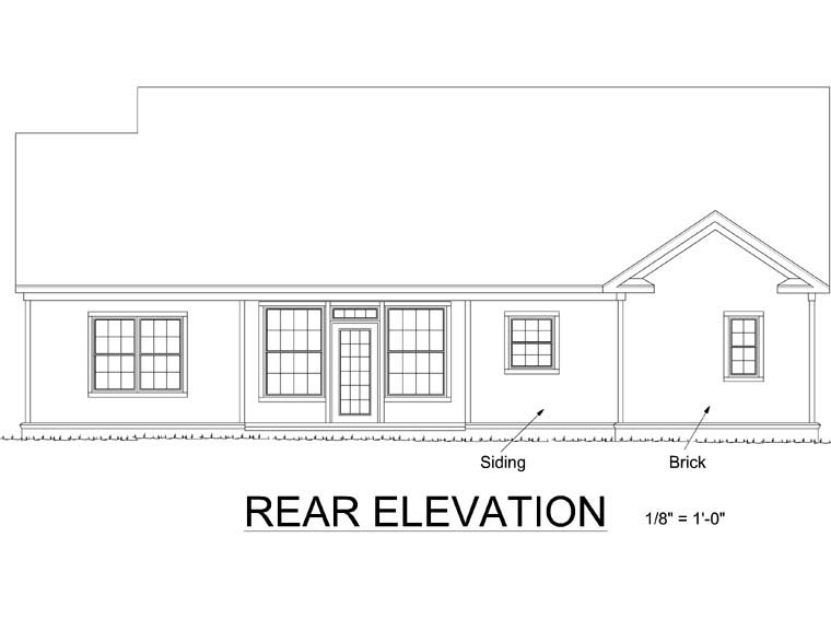 Traditional House Plan 68511 Rear Elevation