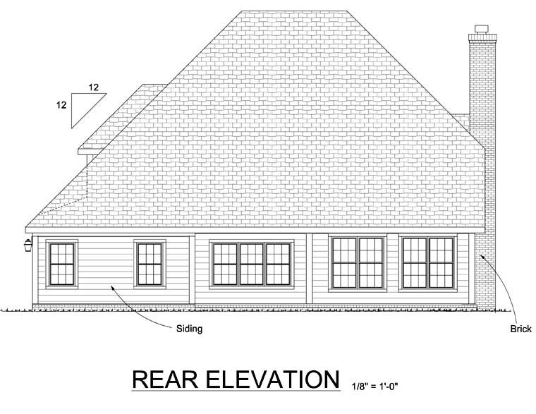 Traditional House Plan 68517 Rear Elevation