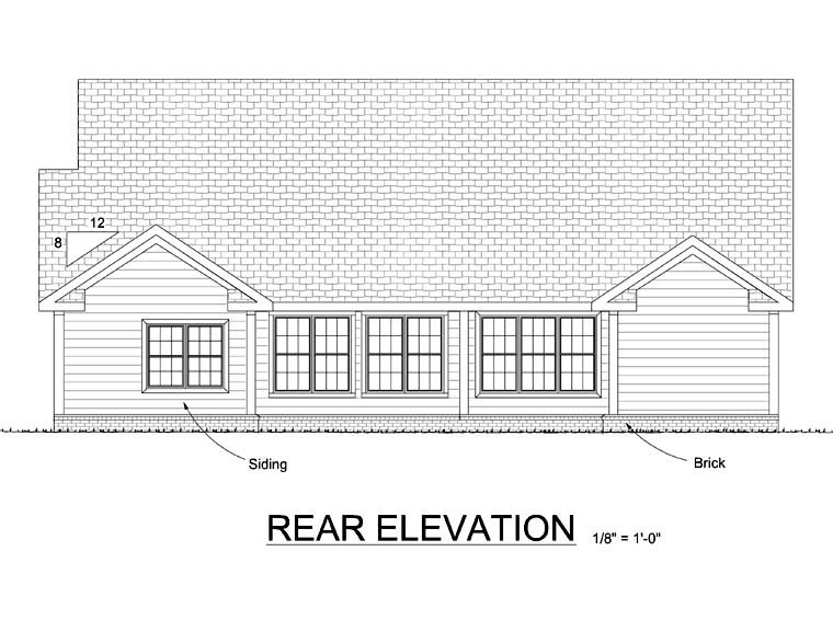Traditional House Plan 68518 Rear Elevation