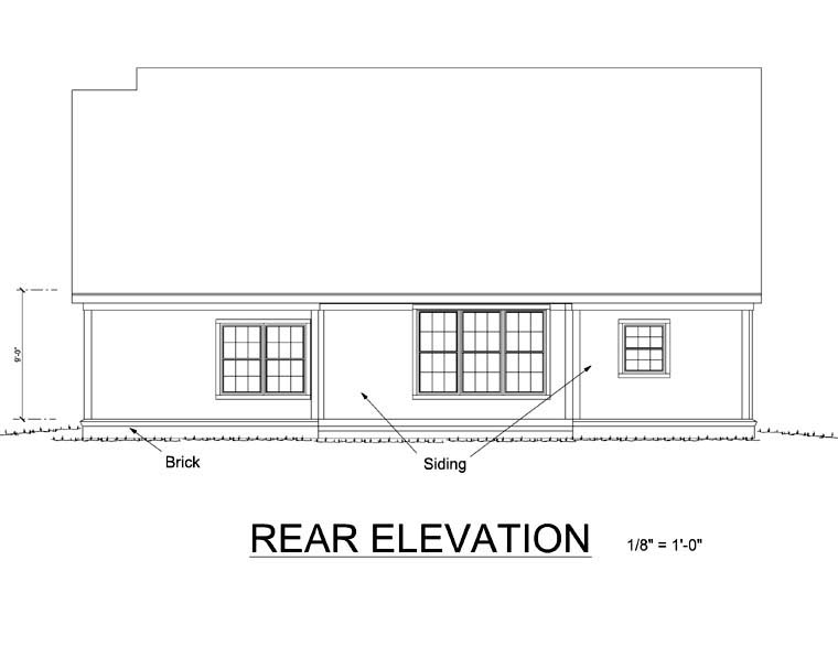 Traditional , Rear Elevation of Plan 68519