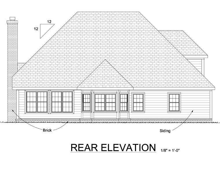Traditional House Plan 68522 Rear Elevation