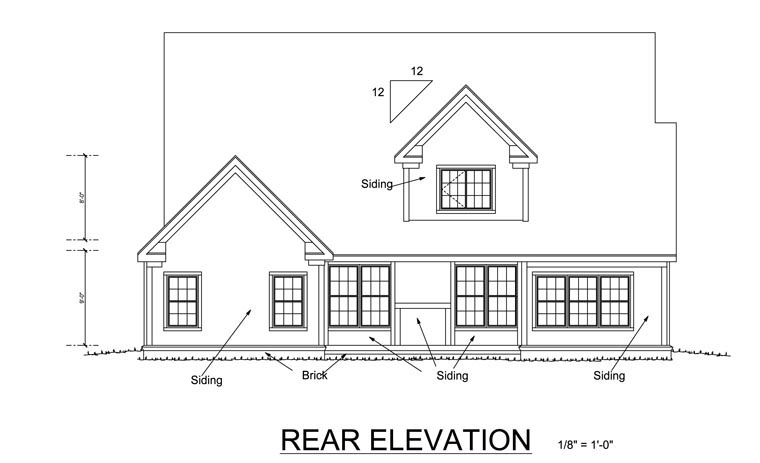 Traditional House Plan 68523 Rear Elevation