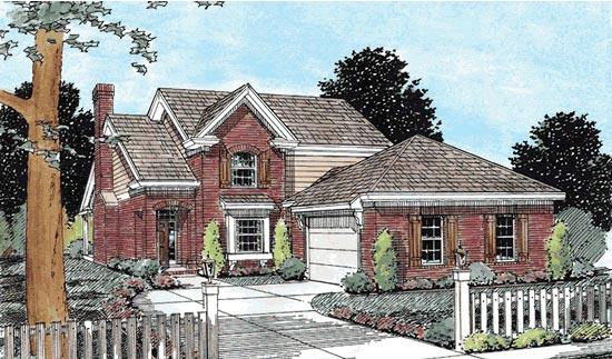 Traditional House Plan 68525 with 3 Beds, 3 Baths, 2 Car Garage Elevation