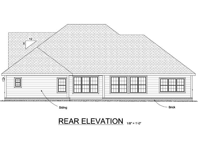 House Plan 68528 | Traditional Style Plan with 2690 Sq Ft, 3 Bedrooms, 3 Bathrooms, 3 Car Garage Rear Elevation