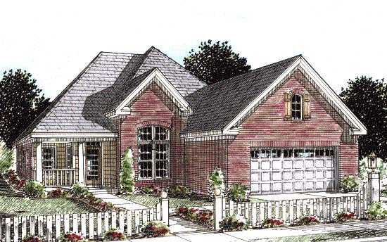 European House Plan 68530 with 3 Beds, 2 Baths, 2 Car Garage Elevation