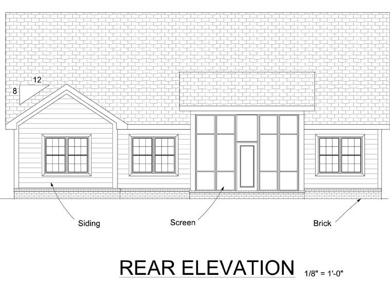 Traditional House Plan 68535 Rear Elevation