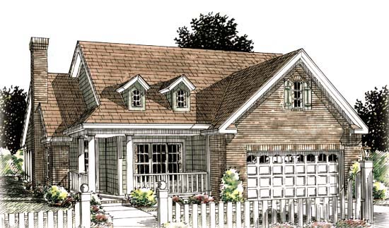 Traditional House Plan 68536 with 2 Beds, 2 Baths, 2 Car Garage Elevation