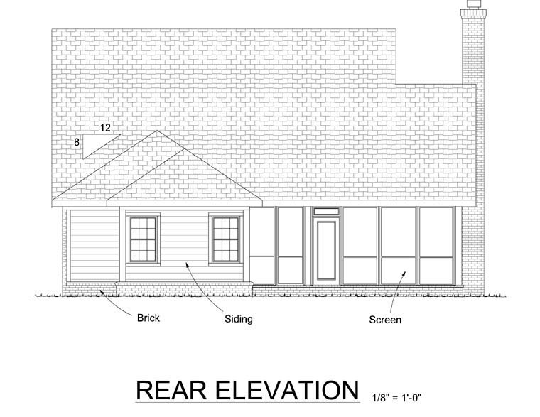 Traditional Rear Elevation of Plan 68536