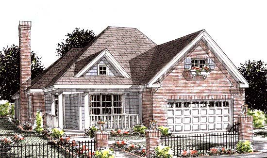 Traditional House Plan 68537 with 2 Beds, 2 Baths, 2 Car Garage Elevation