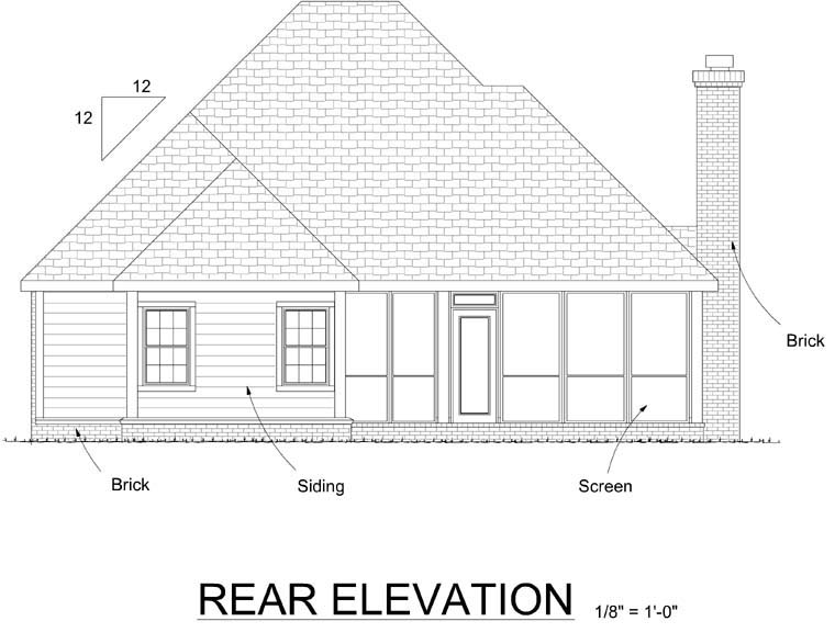 Traditional House Plan 68537 with 2 Beds, 2 Baths, 2 Car Garage Rear Elevation