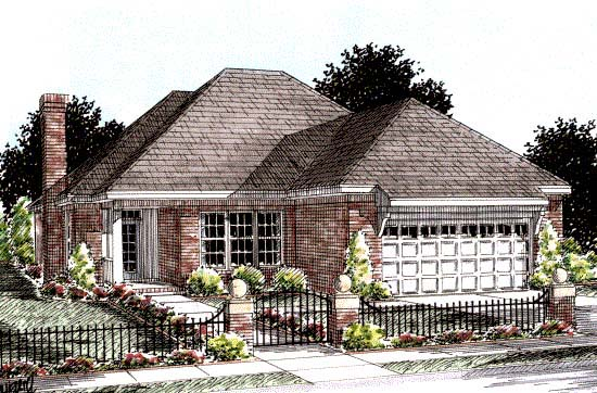Traditional House Plan 68538 with 2 Beds, 2 Baths, 2 Car Garage Elevation