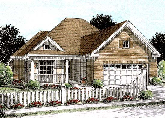 House Plan 68543 | Traditional Style Plan with 1274 Sq Ft, 2 Bedrooms, 2 Bathrooms, 2 Car Garage Elevation