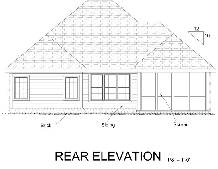 House Plan 68543 | Traditional Style Plan with 1274 Sq Ft, 2 Bedrooms, 2 Bathrooms, 2 Car Garage Rear Elevation