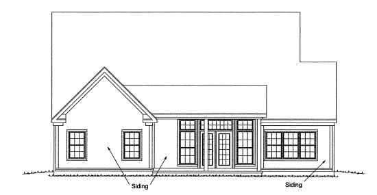 Traditional , Rear Elevation of Plan 68544