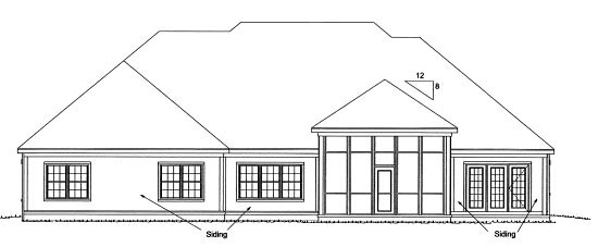 Country House Plan 68547 with 4 Beds, 4 Baths, 3 Car Garage Rear Elevation