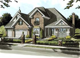 European , Southern , Traditional House Plan 68549 with 4 Beds, 4 Baths, 3 Car Garage Elevation