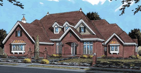 House Plan 68550 | European Style Plan with 4095 Sq Ft, 4 Bedrooms, 4 Bathrooms, 3 Car Garage Elevation